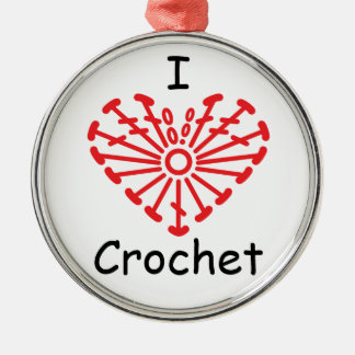 I Heart Crochet -Heart Crochet Chart Pattern Metal Ornament