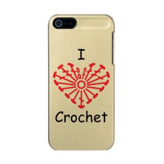 I Heart Crochet -Heart Crochet Chart Pattern Metallic Phone Case For iPhone SE/5/5s