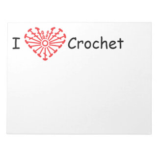 I Heart Crochet -Heart Crochet Chart Pattern Note Pad