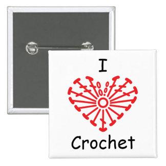 I Heart Crochet -Heart Crochet Chart Pattern Pinback Button