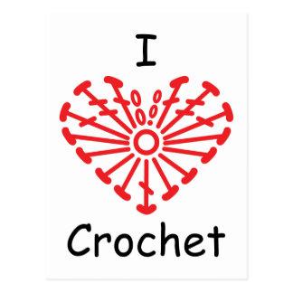 I Heart Crochet -Heart Crochet Chart Pattern Postcard