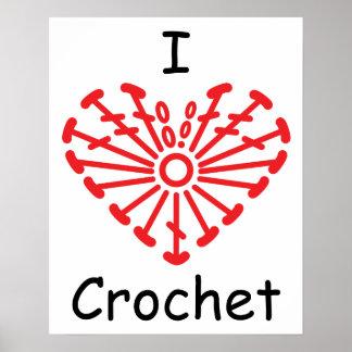 I Heart Crochet -Heart Crochet Chart Pattern Poster