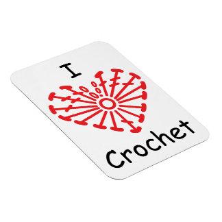 I Heart Crochet -Heart Crochet Chart Pattern Rectangular Photo Magnet