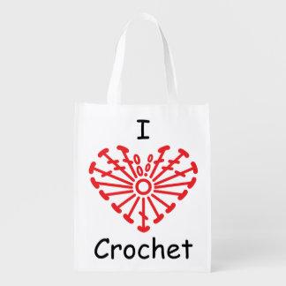 I Heart Crochet -Heart Crochet Chart Pattern Reusable Grocery Bag