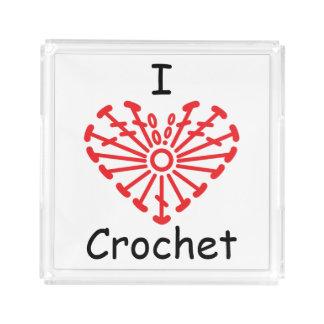 I Heart Crochet -Heart Crochet Chart Pattern Serving Tray