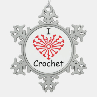I Heart Crochet -Heart Crochet Chart Pattern Snowflake Pewter Christmas Ornament