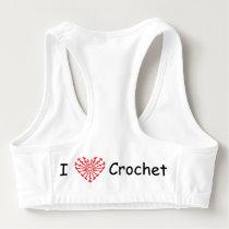 I Heart Crochet -Heart Crochet Chart Pattern Sports Bra