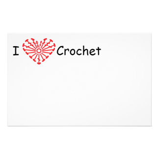 I Heart Crochet -Heart Crochet Chart Pattern Stationery