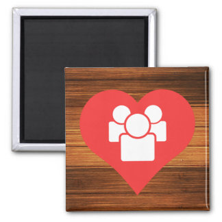 I Heart Crowds Icon 2 Inch Square Magnet