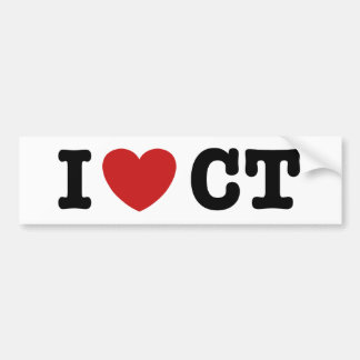 I Heart CT Car Bumper Sticker