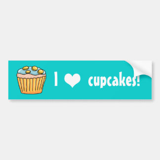 I heart Cupcakes blue frosting Car Bumper Sticker