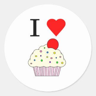 I heart Cupcakes Classic Round Sticker