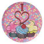 I Heart Cupcakes Plate
