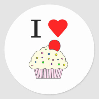I heart Cupcakes Round Stickers