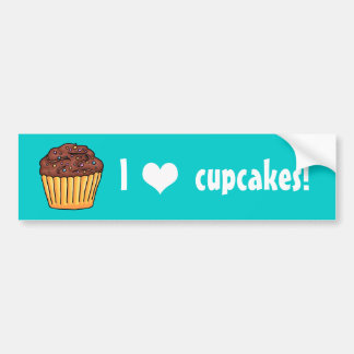 I heart Cupcakes sticky yellow frosting sprinkles Bumper Sticker