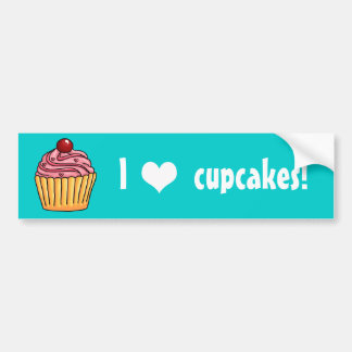 I heart Cupcakes Strawberry Bumper Sticker