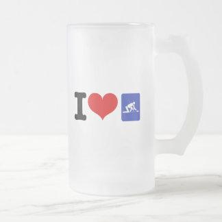 I Heart Curling Frosted Glass Beer Mug