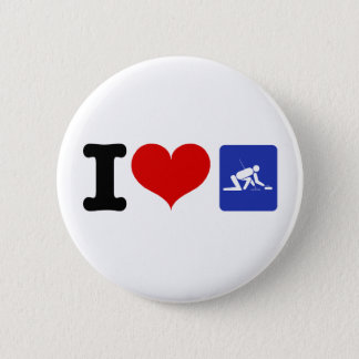 I Heart Curling Pinback Button