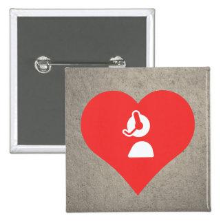 I Heart Customer Service Icon Pinback Button