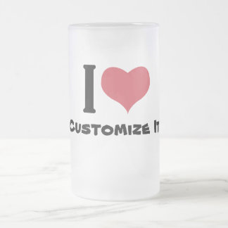 I Heart Customize It Frosted Glass Beer Mug
