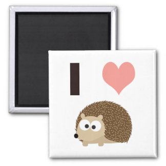 I heart cute hedgehog 2 inch square magnet