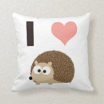 I heart cute hedgehog throw pillow