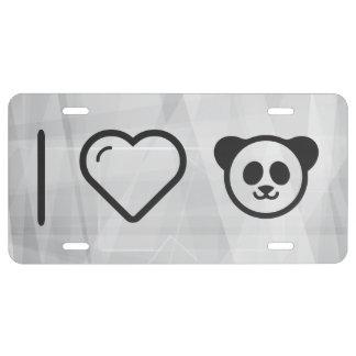 I Heart Cute Pandas License Plate