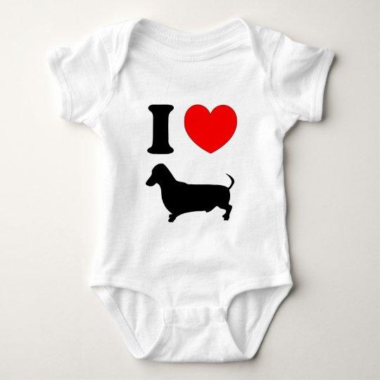 I Heart Dachshund Baby Bodysuit