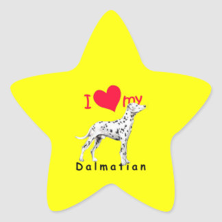 I Heart Dalmatian Star Sticker