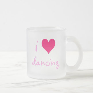 i heart dancing 10 oz frosted glass coffee mug
