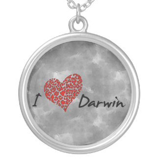 I Heart Darwin Round Pendant Necklace
