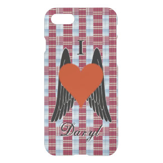 I Heart Daryl w/ plaid background & black wings(2) iPhone 8/7 Case