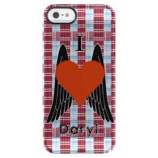 I Heart Daryl w/ plaid background & black wings Clear iPhone SE/5/5s Case