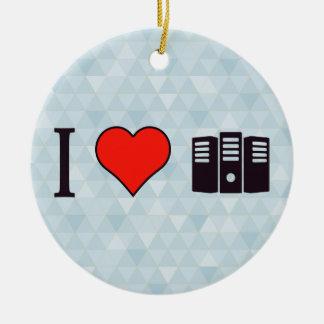 I Heart Data Storages Ceramic Ornament