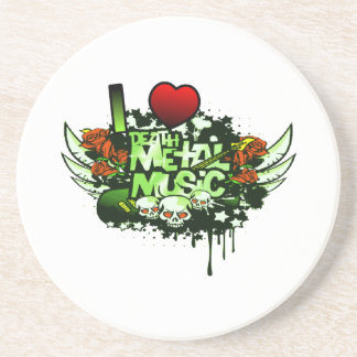I Heart Death Metal Drink Coaster