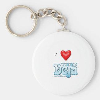 i heart deja basic round button keychain