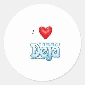 i heart deja classic round sticker