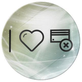 I Heart Delete Documents Porcelain Plate