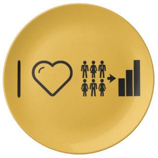 I Heart Demographics Porcelain Plate