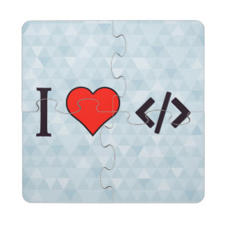 I Heart Designing My Own Software Puzzle Coaster