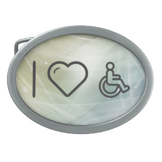 I Heart Disability Signs Oval Belt Buckle
