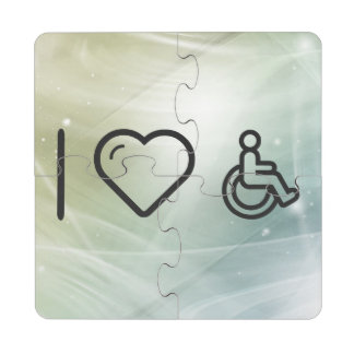 I Heart Disability Signs Puzzle Coaster