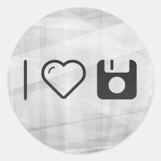 I Heart Diskette Bottoms Classic Round Sticker