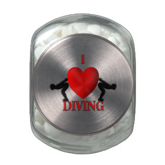 I Heart Diving Glass Candy Jar