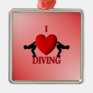 I Heart Diving Metal Ornament