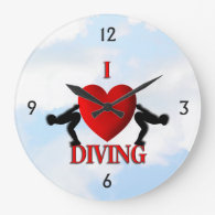 I Heart Diving Wall Clock
