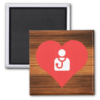 I Heart Doctors Icon 2 Inch Square Magnet