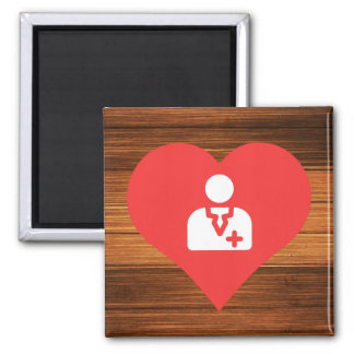 I Heart Doctors 2 Inch Square Magnet