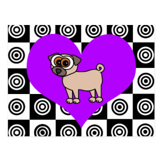I Heart Dogs - Black , Purple, White Postcard