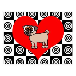 I Heart Dogs - Black ,Red, White Postcard